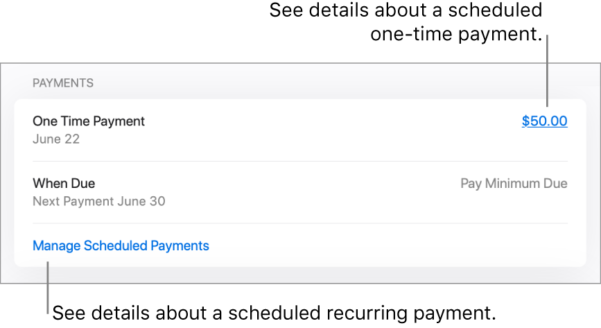 The Payments section on the Settings page. Two scheduled payments are listed: a one-time payment of $50, and a monthly recurring payment of the minimum balance.