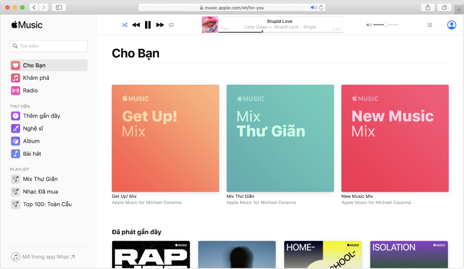 Apple Music trên web đang hiển thị Cho bạn.