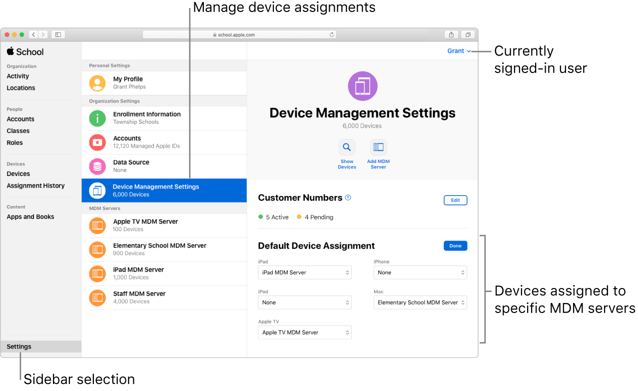 The Apple School Manager window, with Settings selected in the sidebar. The selected Device Management organisation setting opens to a pane for setting default device assignments.