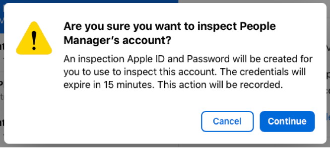 An inspect alert showing the amount of time the Managed Apple ID account can be inspected.