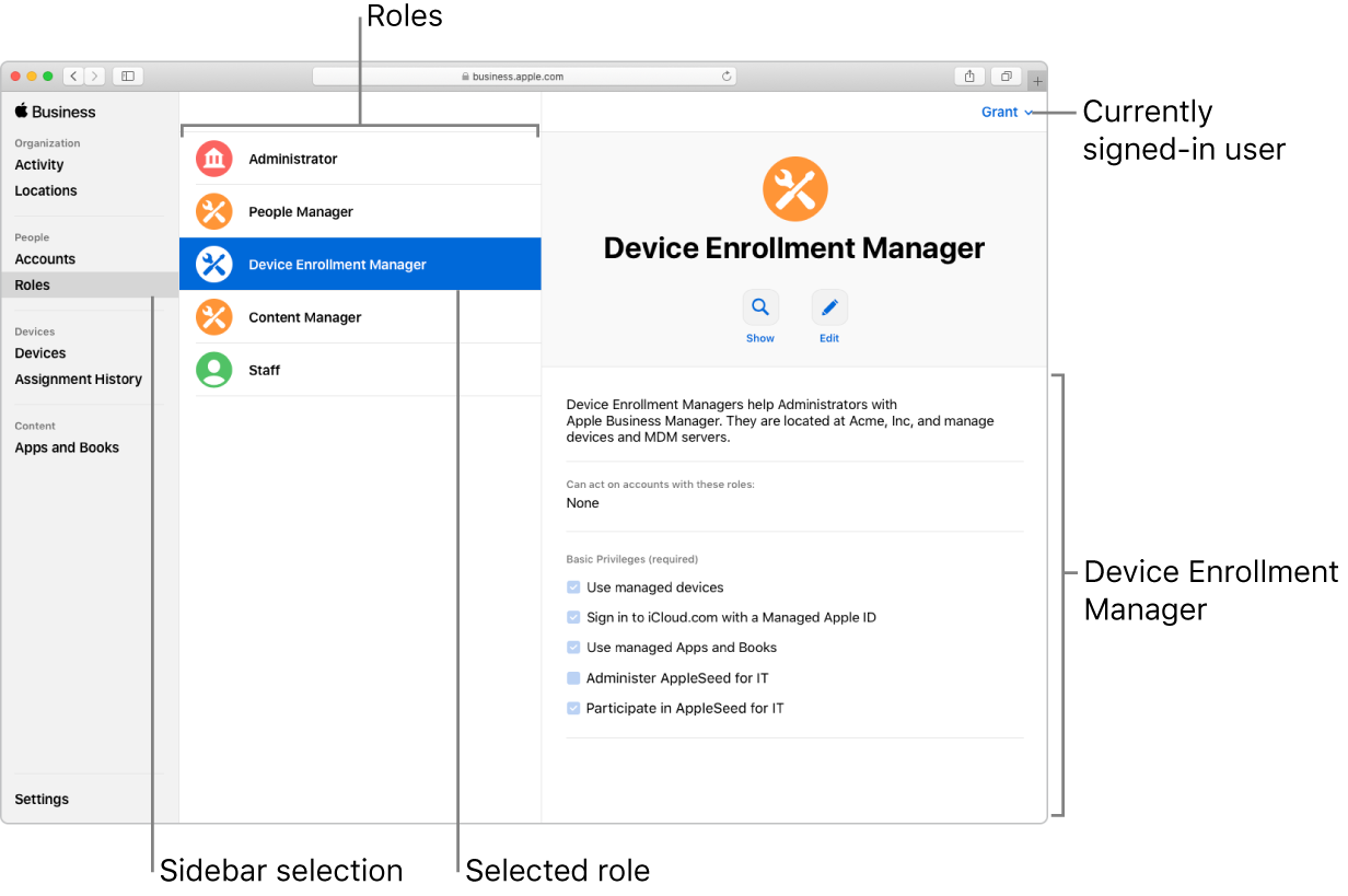 Vinduet Roller i AppleBusinessManager. En valgt rolle åbnes med en beskrivelse af den pågældende rolles privilegier for den bruger, der er logget ind.