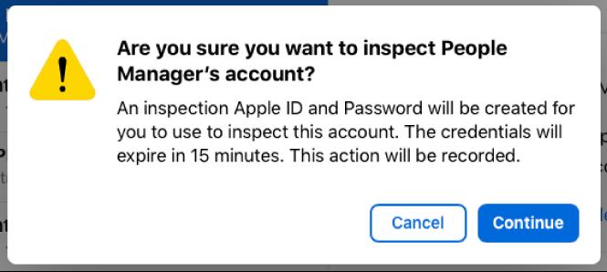 Alerte d'inspection indiquant la durée pendant laquelle le compte associé à l'identifiantApple géré peut être inspecté.