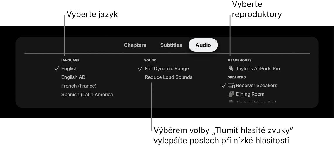 Nabídka Audio během přehrávání