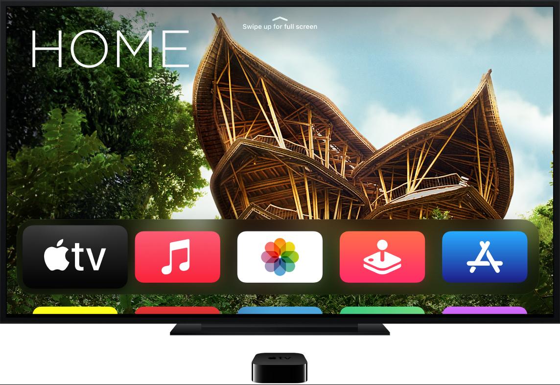 Apple TV, der er sluttet til et fjernsyn, som viser hjemmeskærmen