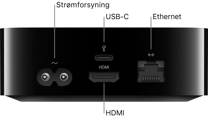 Bagsiden af Apple TV HD med billedforklaring til porte
