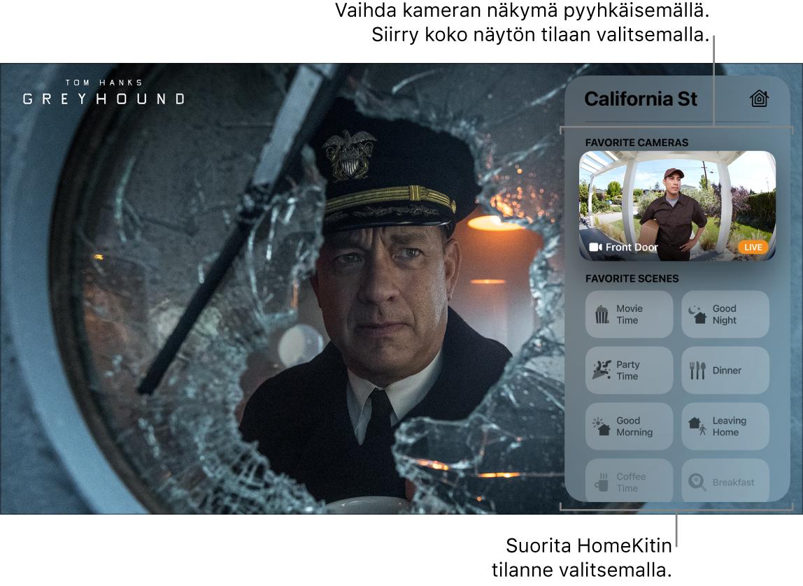AppleTV ‑näyttö, jossa näkyy Ohjauskeskuksen HomeKit-näkymä