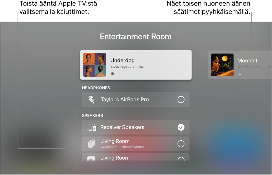 AppleTV ‑näyttö, jossa näkyvät Ohjauskeskuksen äänisäätimet