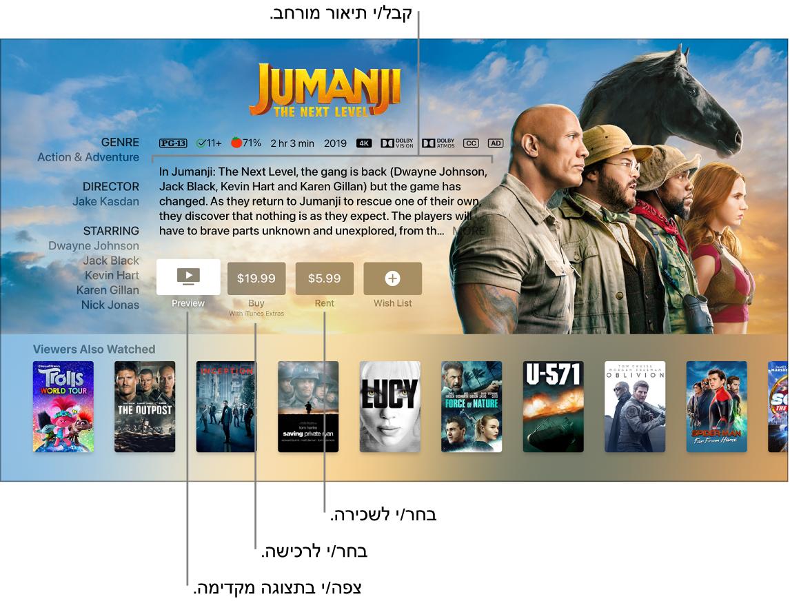 המסך ״פרטים לגבי הסרט״
