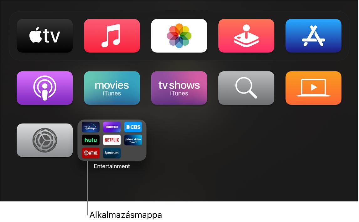 Alkalmazásmappa a Főképernyőn