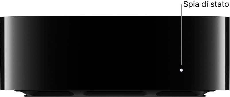 Apple TV con didascalia della spia di stato