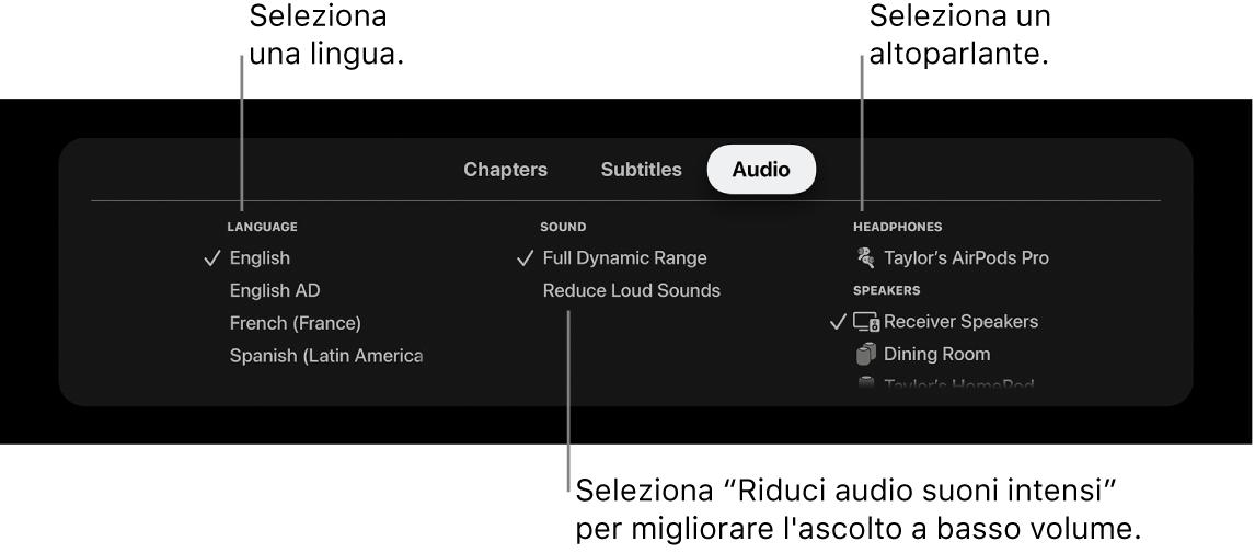 Menu Audio durante la riproduzione