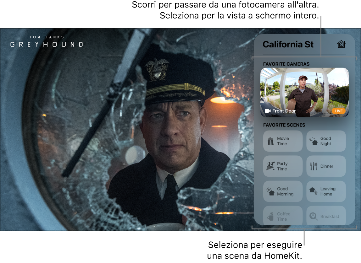 Schermata di Apple TV che mostra la vista di HomeKit di Centro di Controllo