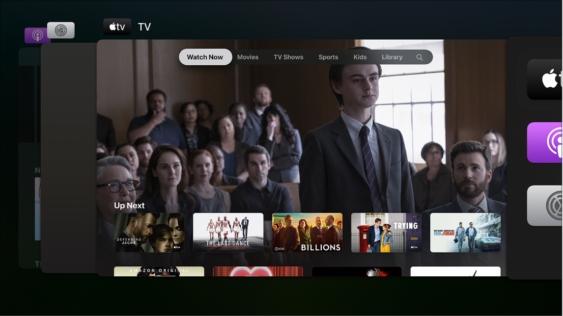 Ecrã da AppleTV a mostrar o seletor de aplicações