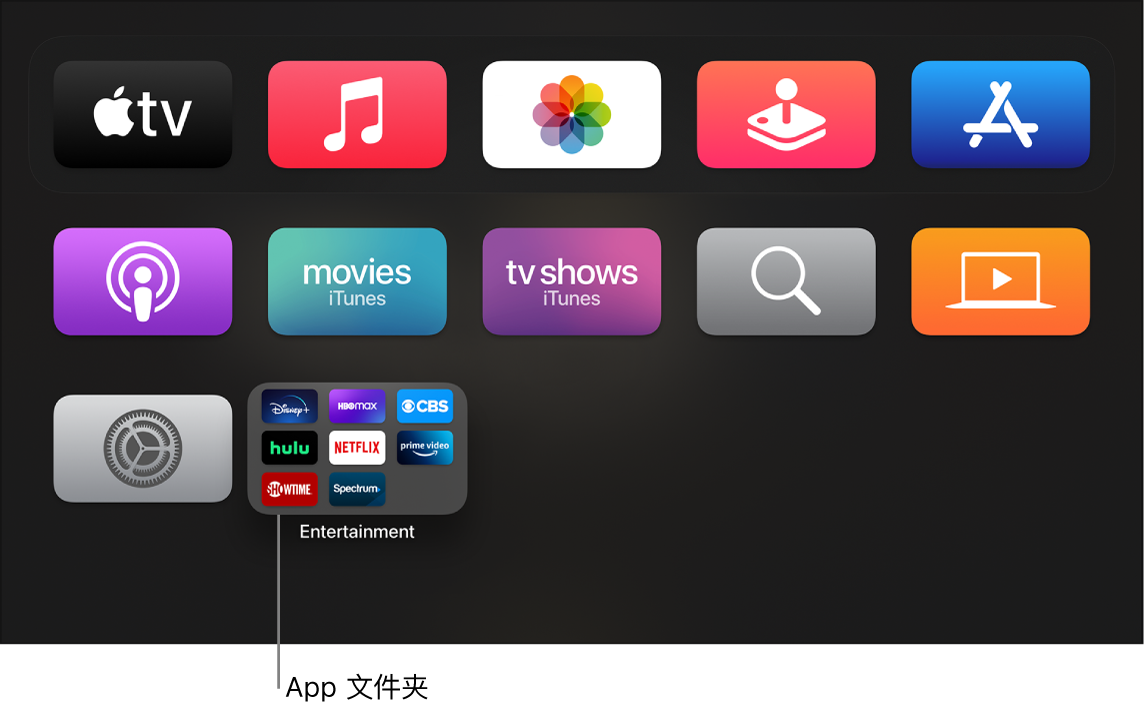 显示 App 文件夹的主屏幕