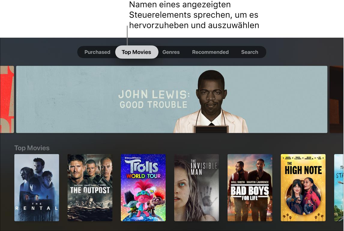 iTunes Movies Store mit Befehlen, die gesprochen werden können