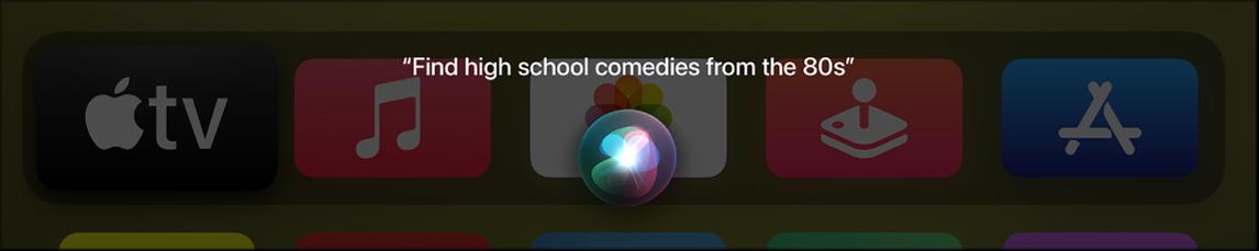Bildschirm mit Siri-Suche nach einem Film nach Genre und Datum