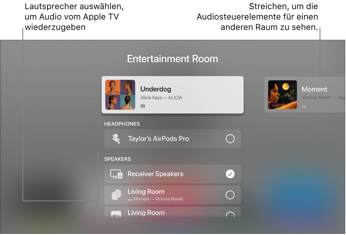 AppleTV-Bildschirm mit Kontrollzentrum und Audiosteuerelementen
