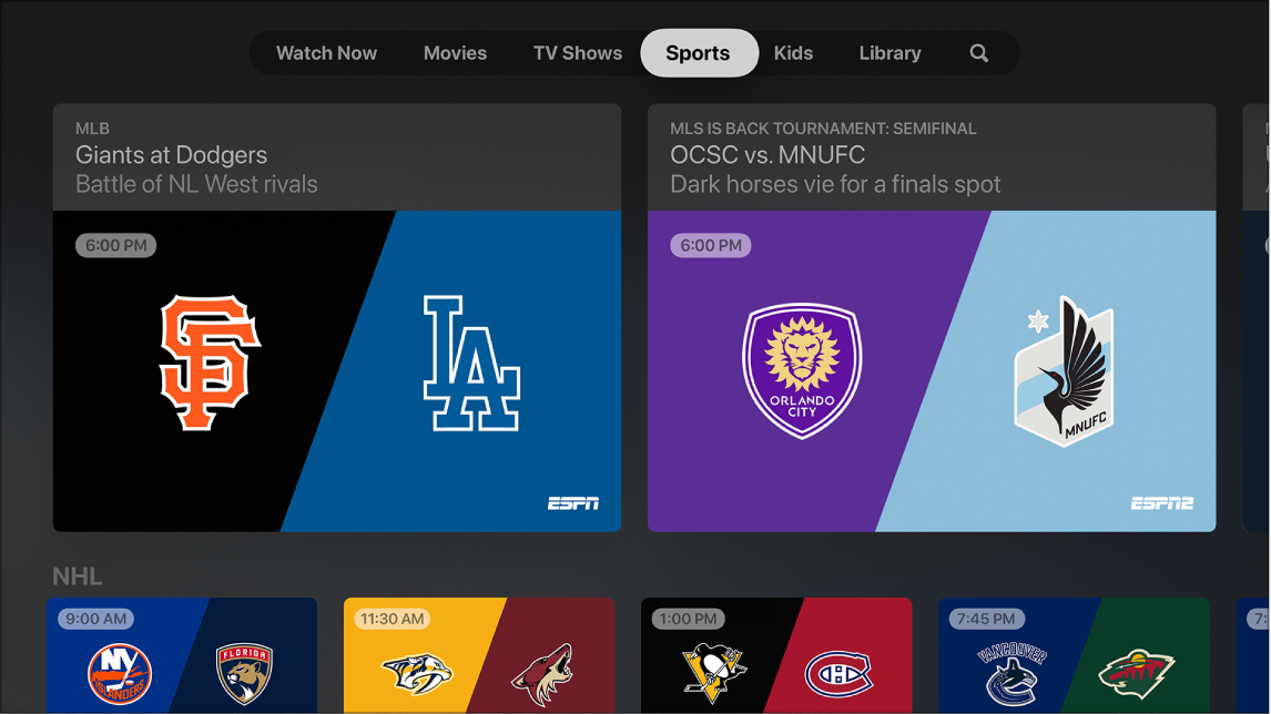Screen showing Sport
