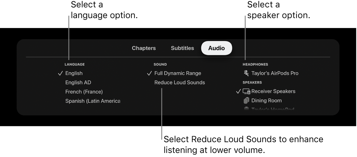 Playback screen showing Audio pull-down and Reduce Loud Sounds selected