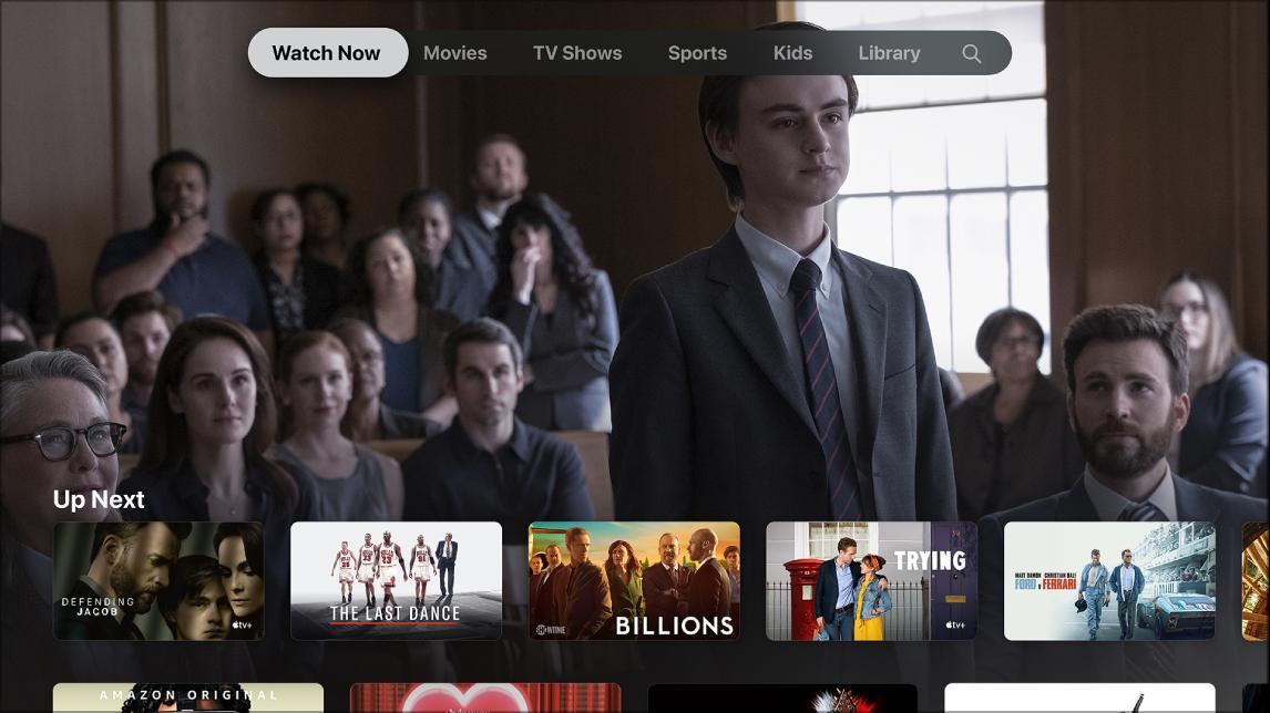 Screen showing Watch Now