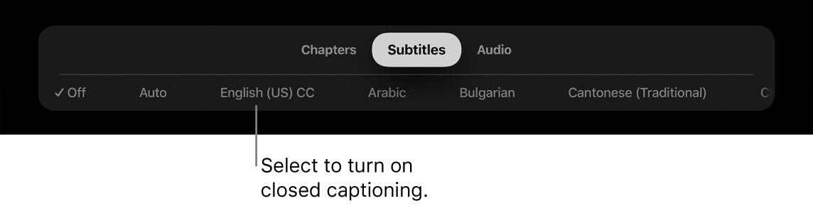 Subtitles menu during playback