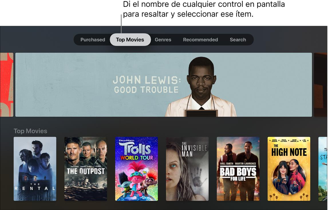 """""""Películas de iTunes"""" y comandos del menú que se pueden leer en alto"""