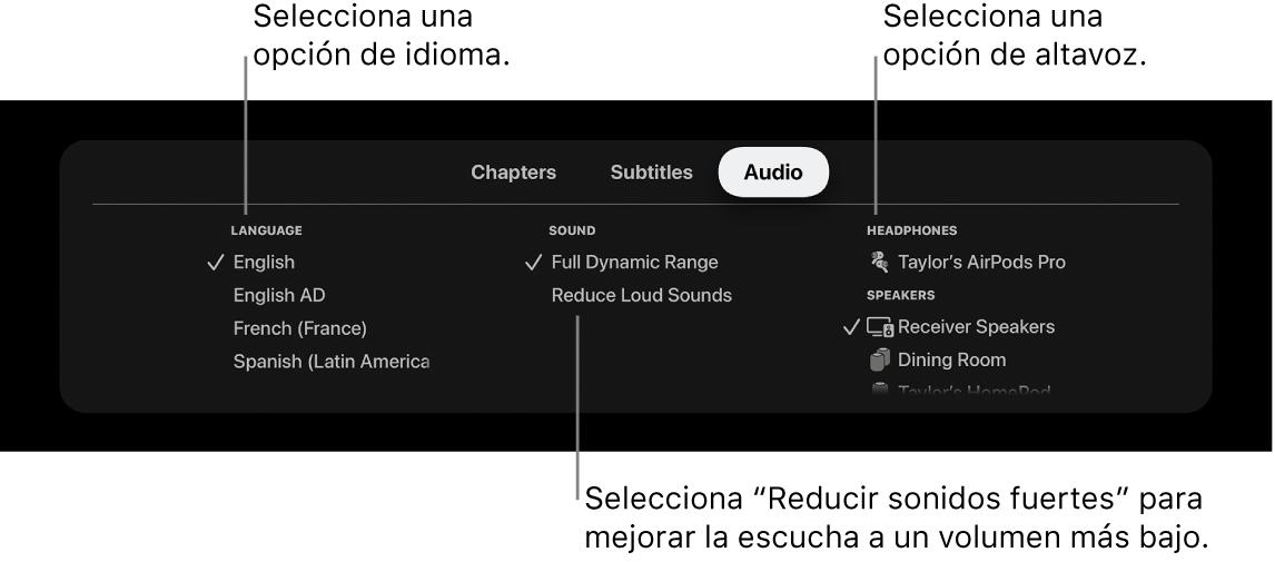 Menú Audio durante la reproducción