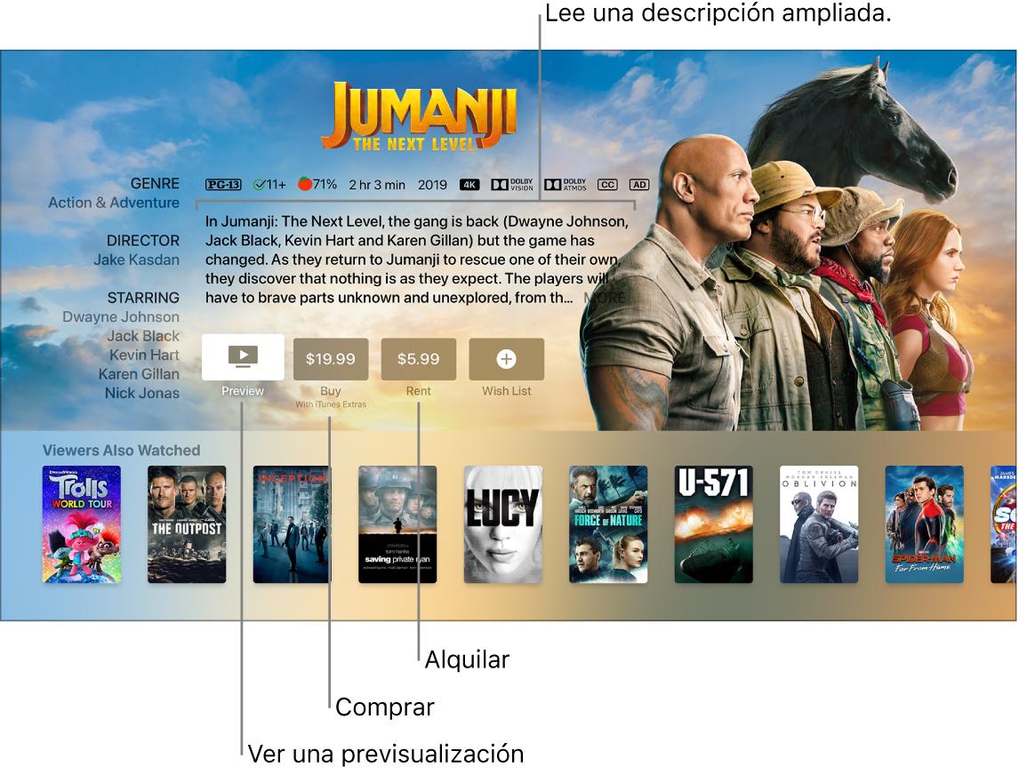 Pantalla de información de la película