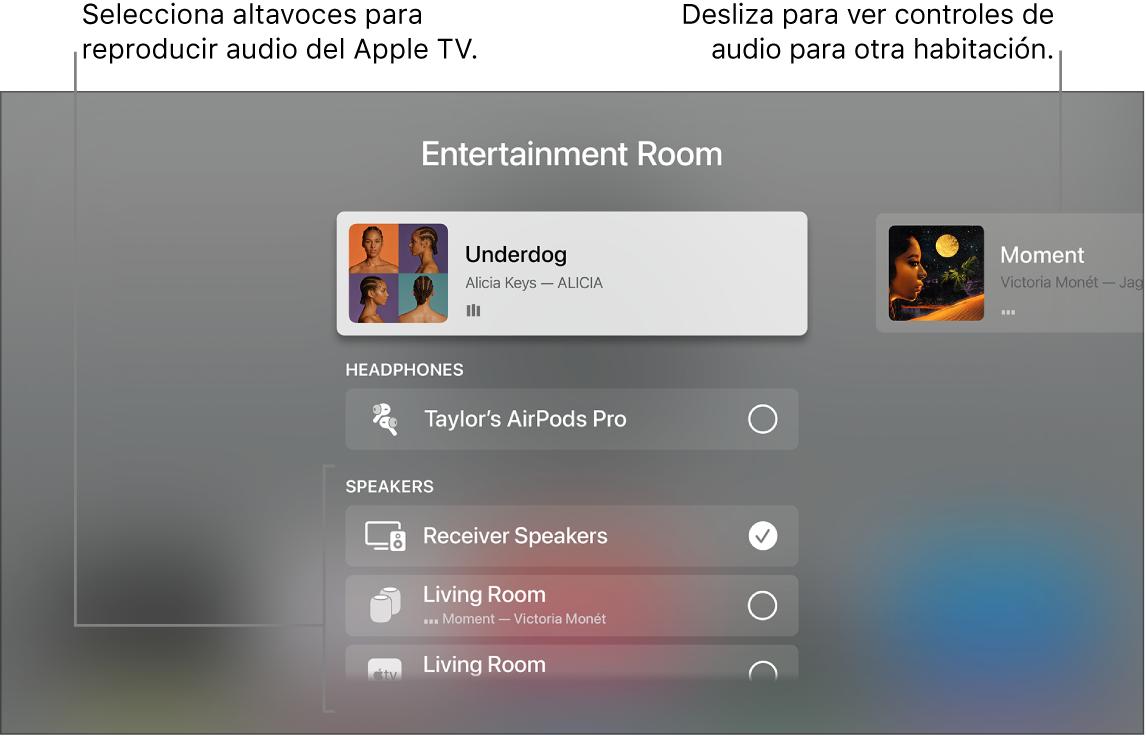 Pantalla del AppleTV con los controles de audio del centro de control