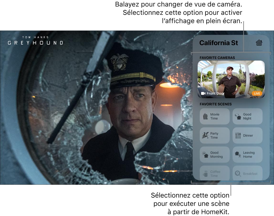 Écran de l'AppleTV qui affiche le centre de contrôle HomeKit