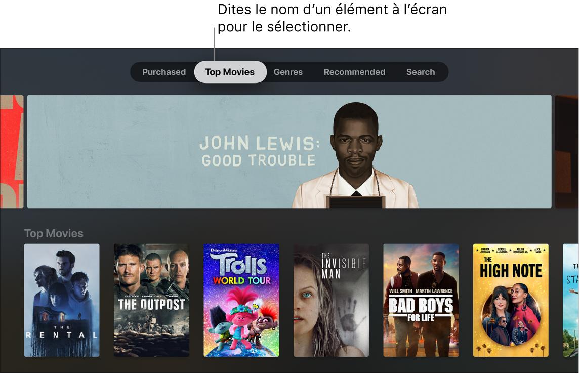 Boutique iTunesMovie affichant les commandes du menu pouvant être dictées