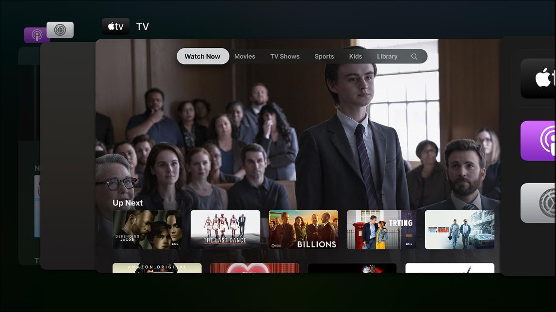 Écran de l'AppleTV affichant le sélecteur d'app
