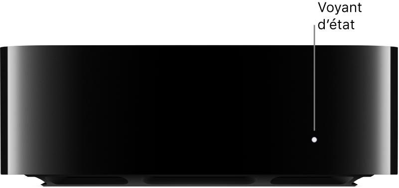 Lumière d'état de l'AppleTV allumée