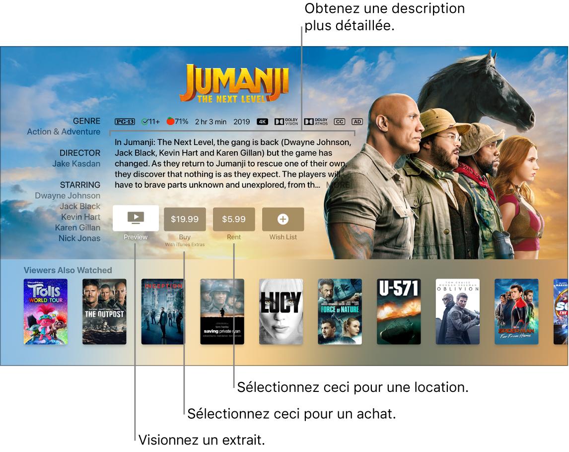 Écran d'information sur un film