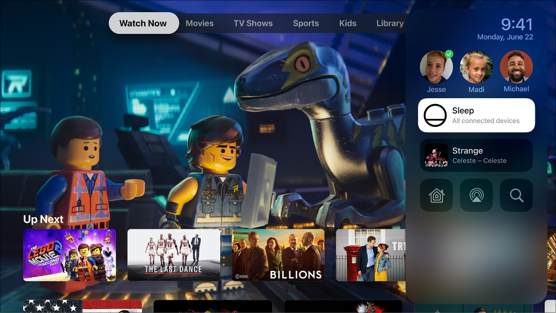Écran de l'Apple TV avec le Centre de contrôle