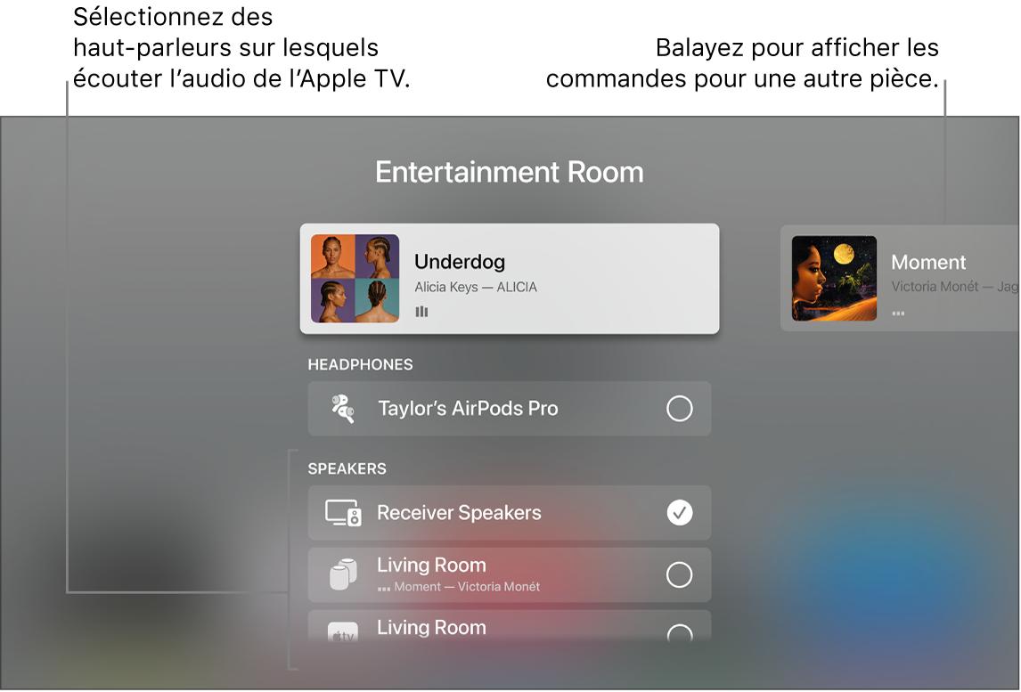 Écran de l'AppleTV avec les commandes audio du centre de contrôle