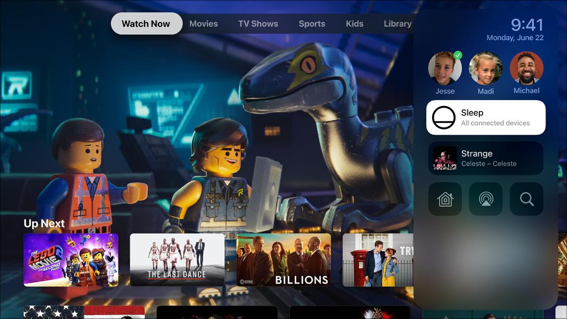 Scherm van AppleTV met het bedieningspaneel