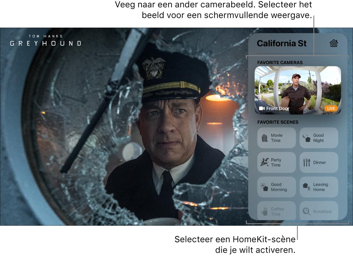 Scherm van AppleTV met daarin het bedieningspaneel met de HomeKit-weergave