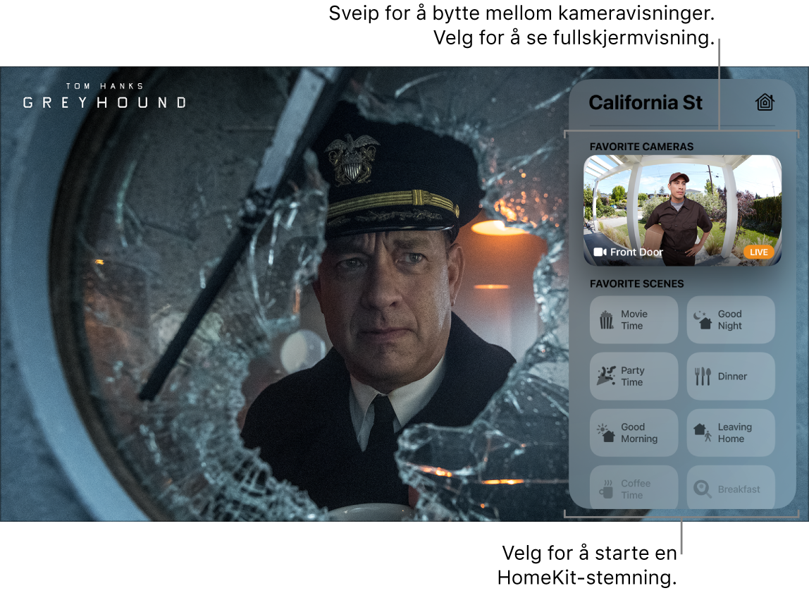 AppleTV-skjerm som viser HomeKit-visningen i Kontrollsenter
