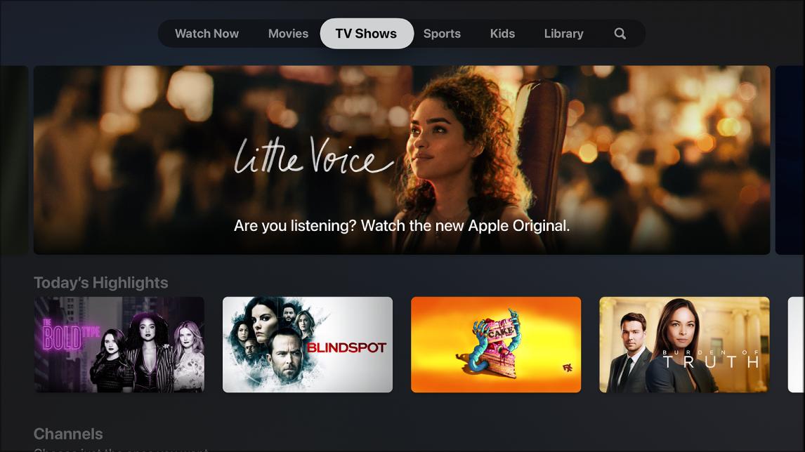 Tela mostrando Programas de TV