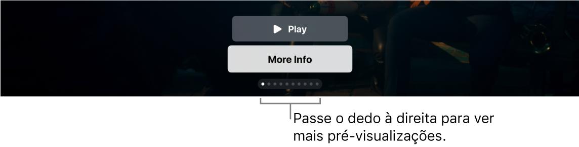 Controles de pré-visualização adicionais na tela de Início.