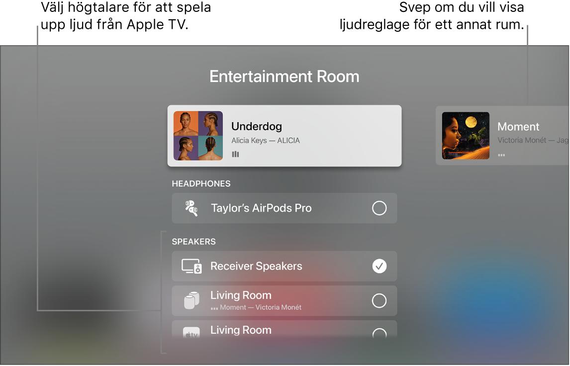 AppleTV-skärm med ljudreglage i Kontrollcenter