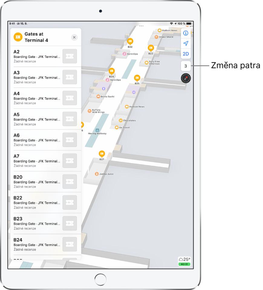 Mapa vnitřních prostor letištního terminálu. Mapa ukazuje obchody anástupní brány Na levé straně obrazovky se nachází karta súdaji obranách terminálu 4.