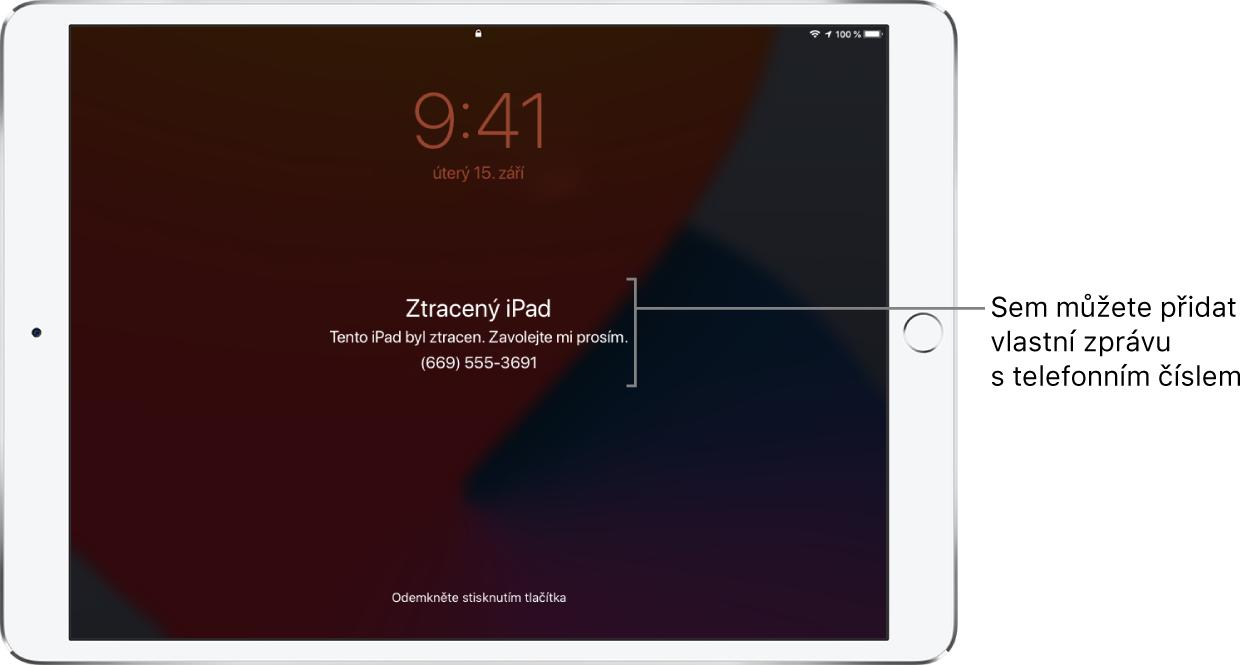 """Uzamčená obrazovka iPadu se zprávou: """"Ztracený iPad. Tento iPad byl ztracen. Zavolejte mi prosím. (669) 555-3691."""" Podle potřeby si můžete nastavit vlastní zprávu stelefonním číslem."""
