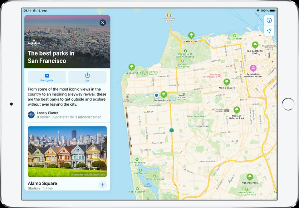 En guide til parker i San Francisco i venstre side af et bykort.