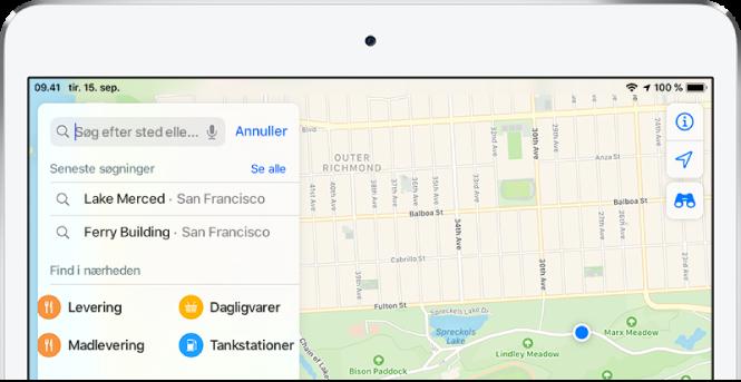 På søgekortet i venstre side af skærmen vises kategorier til fire tjenester i nærheden. Kategorierne er Restauranter, Dagligvarer, Madlevering og Benzinstationer.
