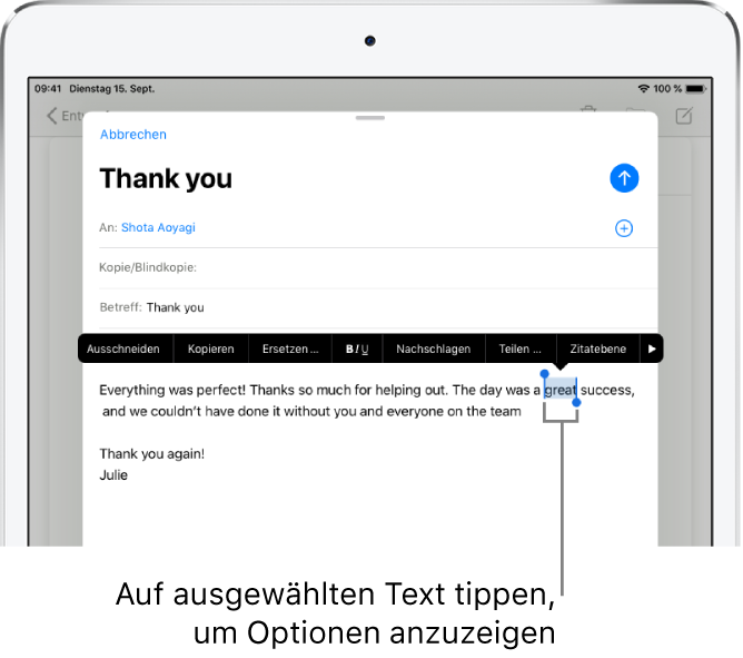"""Beispiel einer E-Mail-Nachricht mit ausgewähltem Text. Über der Auswahl befinden sich die Tasten """"Ausschneiden"""", """"Kopieren"""", """"Einsetzen"""" und """"Ersetzen"""". Der ausgewählte Text ist hervorgehoben und an beiden Seiten befinden sich Aktivpunkte."""