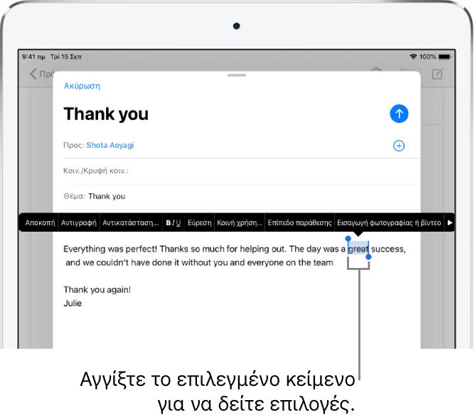 Ένα δείγμα μηνύματος email με επιλεγμένο ένα τμήμα του κειμένου. Πάνω από την επιλογή βρίσκονται τα κουπιά Αποκοπή, Αντιγραφή, Επικόλληση και Αντικατάσταση. Το επιλεγμένο κείμενο επισημαίνεται και εμφανίζονται λαβές σε κάθε πλευρά.