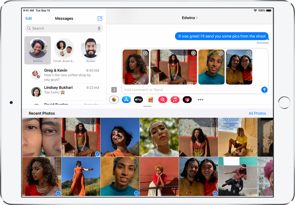 A Messages screen with the Photos iMessage app overlaid on top of the message. At the top of the overlay are the buttons for browsing photos.