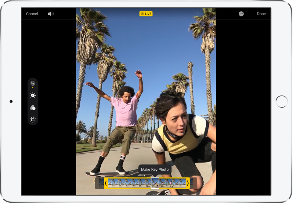 A Live Photo in Edit mode. On the left side of the screen the Live button is selected. The photo is in the middle of the screen and the Live Photo frames are displayed below it. The selected Key Photo frame is outlined in white; the Make Key Photo option appears above the frame.